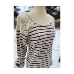 Cleo Petites Striped Long Sleeve Top Lace Ribbon